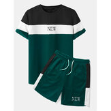 Mens Preppy Patchwork Letter Color Crew Neck Shirts Shorts Two Pieces Outfits
