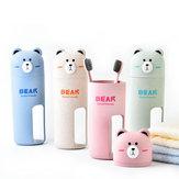 Honana Cute Bear Jerami Gandum Portable 4 Pilihan Warna Sikat gigi Penyelenggara Perjalanan Piala Cuci Set 2 Sikat Gigi Incuded