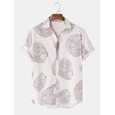 Mens Tree Круглый принт с отложным воротником и короткими рукавами Праздничные повседневные рубашки