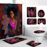 Impressão 3D Conjunto de cortina de chuveiro para mulher africana com tapete antiderrapante Tampa de banheiro Tapete de banho para Banheiro Decoração