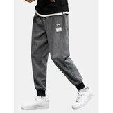 Мужская вельветовая аппликация на шнурке с манжетами Брюки с карманом