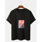Mens Landscape Graphic Print Cotton Loose Casual Short Sleeve T-Shirts