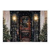 Christmas Tree Photography Backdrops Snowy Door Shop Window Background Cloth for Studio Photo Backdrop Prop