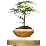 Magnetic Suspended Potted Plant Wood Grain Round LED Indoor Pot Home Office Decoration