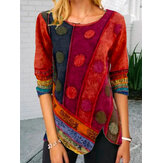 Women Ethnic Print Asymmetrical Hem O-Neck Corduroy Plus Size Blouse