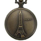 DEFFRUN Vintage tour Eiffel motif PARIS chaîne rétro montre de poche