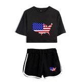 Dwuczęściowy zestaw sportowy z nadrukiem flagi amerykańskiej Dzień Niepodległości