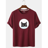 Mens Cartoon Black Cat Print Loose Light Daily Col rond T-shirts