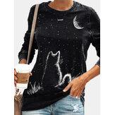 Damska koszulka z długim rękawem i okrągłym dekoltem w kształcie księżyca