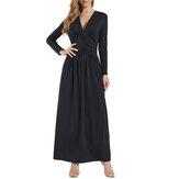 Damska nowa sukienka z długimi rękawami Maxi z dekoltem w serek