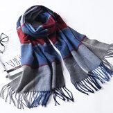 LYZA 190CM Women Autumn Warm Plaid Scarf Long Tassel Scarf Scarves Shawl