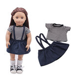 Striped T-shirt Skirt Set For 18'' American Girl Our Generation Journey Doll Accessories
