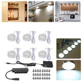 6pcs Round LED Under Cabinet Light Kit Kitchen Shelf Lamp Counter DIY