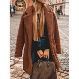 Women Winter Thick Fleece Lapel Mid-Length Solid Color Warm Casual Coat
