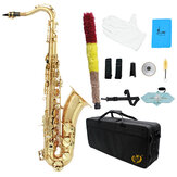 Mebite Brass Bb Tenor Saxophone Sax Carved Pattern Pearl White Shell Buttons Wind Instrument with Case Gloves Cleaning Cloth