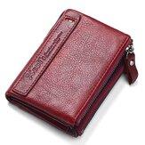 Genuine Leather Vintage Men Women Card Holder Purse Wallet