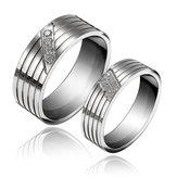1PC Titanium Steel Cubic Zirconia Inlaid Couple Finger Ring For Women Men