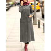 Winter Solid Color Front Pockets Casual Kaftan Tunic Muslim Maxi Dress