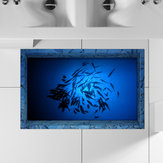 PAG 3D Bathroom Anti Slip Sea Fish Pattern Waterproof Floor Sticker Washable Shower Room Decor