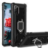 Bakeey para Samsung Galaxy Note 20 Ultra / Galaxy Note20 Ultra 5G Caso Fibra de carbono Padrão Armor Anti-impressão digital à prova de choque com rotação de 360 ° Suporte de anel magnético de proteção para PC Caso
