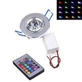 Dimmable AC85-265V 3W LED RGB Luz de teto colorido para baixo da lâmpada com Controle Remoto