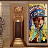 Triptych Modern Decorative Inkjet Indian Head Decorative Painting Canvas Prints Painting for Home Art Decor Wall Picture