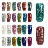 24 färger Shining Holo Diamond Förlänga UV Gel Extension Nail Art Lim Manicure