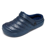 Men Waterproof Cloth Plush Warm Lined Comfy Slip On Home Slippers
