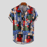 Mens Summer Ethnic Pattern Rose Printed Casual Shirts