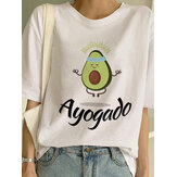 Women Short Sleeve O-neck Avocado Print Causal T-shirts