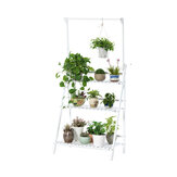 Small Flower Rack Shelf Solid Wood 3 Layers Balcony Indoor Folding Flower Stand with Hanging Bar