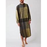 Camisas henley con estampado de cuadros de algodón para hombre Ropa de dormir para el hogar Batas de manga larga con bolsillo