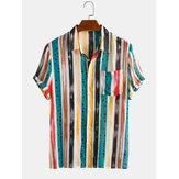 Hombres Algodón Colorful Rayas Punto Minúsculo Estampado Manga Corta Holiday Casual Camisa