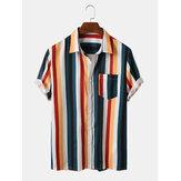 Camisas de manga corta con cuello vuelto a rayas Colorful para hombre