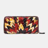 Damen Echtes Leder Patchwork Vintage Brieftasche Geldbeutel Clutches Bag