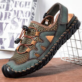 Men Genuine Leather Hand Stitching Breathable Mesh Casual Soft Sandals