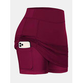 Women Solid Color Sports Shorts Compression Liner Breathable Tennis Skirt With Pocket
