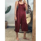 Mulheres de pernas largas cor sólida sem mangas bolsos laterais cinta macacão