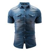HerrenSommerKurzarmCasualFashionFit Jeanshemden