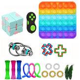 19/28 pcs Fidget Bubble Toys Conjunto sensorial Faça Você Mesmo Artefato de Descompressão para Adultos Menina Crianças Expressão Emoção Alívio do Stress Brinquedos Antistress