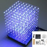 Upgraded Version 3D Light Cube Kit 8x8x8 Blue LED MP3 Music Spectrum DIY Electronic Kit With 3W Amplifier+3W Speaker