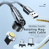 Essager 540 Rotate Magnetic Data Cable 3A USB Type-C Linha de carregamento rápido para OnePlus 8Pro 8T Huawei P30 P40 Mate 40 Pro