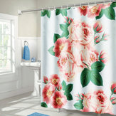 71''x71'' Long Peach Blossom Pattern Waterproof Polyester Shower Curtain with Hooks