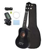 21 Inch Economic Soprano Ukulele Uke Musical Instrument With Gig bag Strings Tuner Black