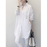 Women Pure Color Lapel Chest Pocket Loose Casual Long Sleeve Shirts