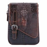 6 inches Men Genuine Leather Waist Bag Alligator Pattern Minimalist Casual Phone Bag Crossbody Bag