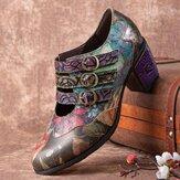 Socofy Женское Комфортная кожа в стиле ретро с цветочным принтом Крюк Петля с круглым носком Soft Туфли на массивном каблуке