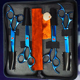 6Pcs Set PetT Dog Hair Cutting Plating Scissors Grooming set Curved Professional Hair Scissors Tool