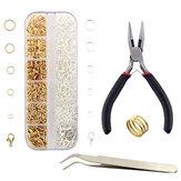 12 pezzi kit di riparazione per creazione di gioielli in oro + argento anelli per saltare aperti e fermagli per aragosta