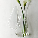 Wall-mounted Water Drop Shape Glass Vase Garden Hydroponice Plants Flower Pot
